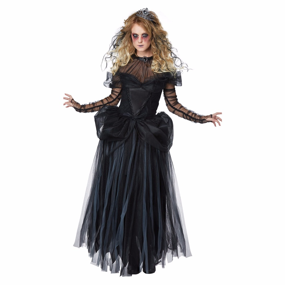 VASHEJIANG Women Day of The Dead Cosplay Sexy Ghost Bride Costumes Adult Vampire Queen Cosplay Costume for Halloween
