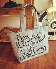 Cartoon Cats Print Zipper Bag