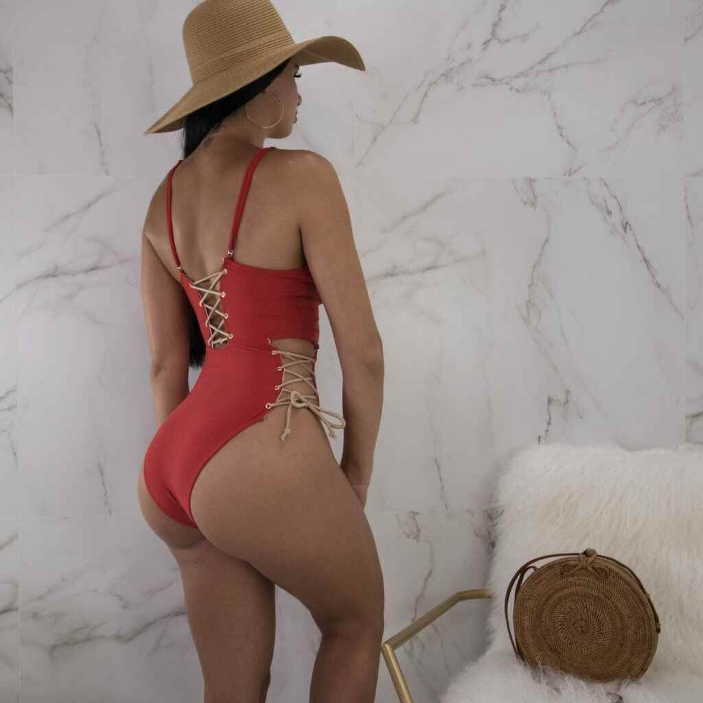Traje de baño de verano vendaje Push Up Bikini traje de baño una pieza acolchado para chica sin espalda Bikini Monokini encaje-up Mujer traje de baño