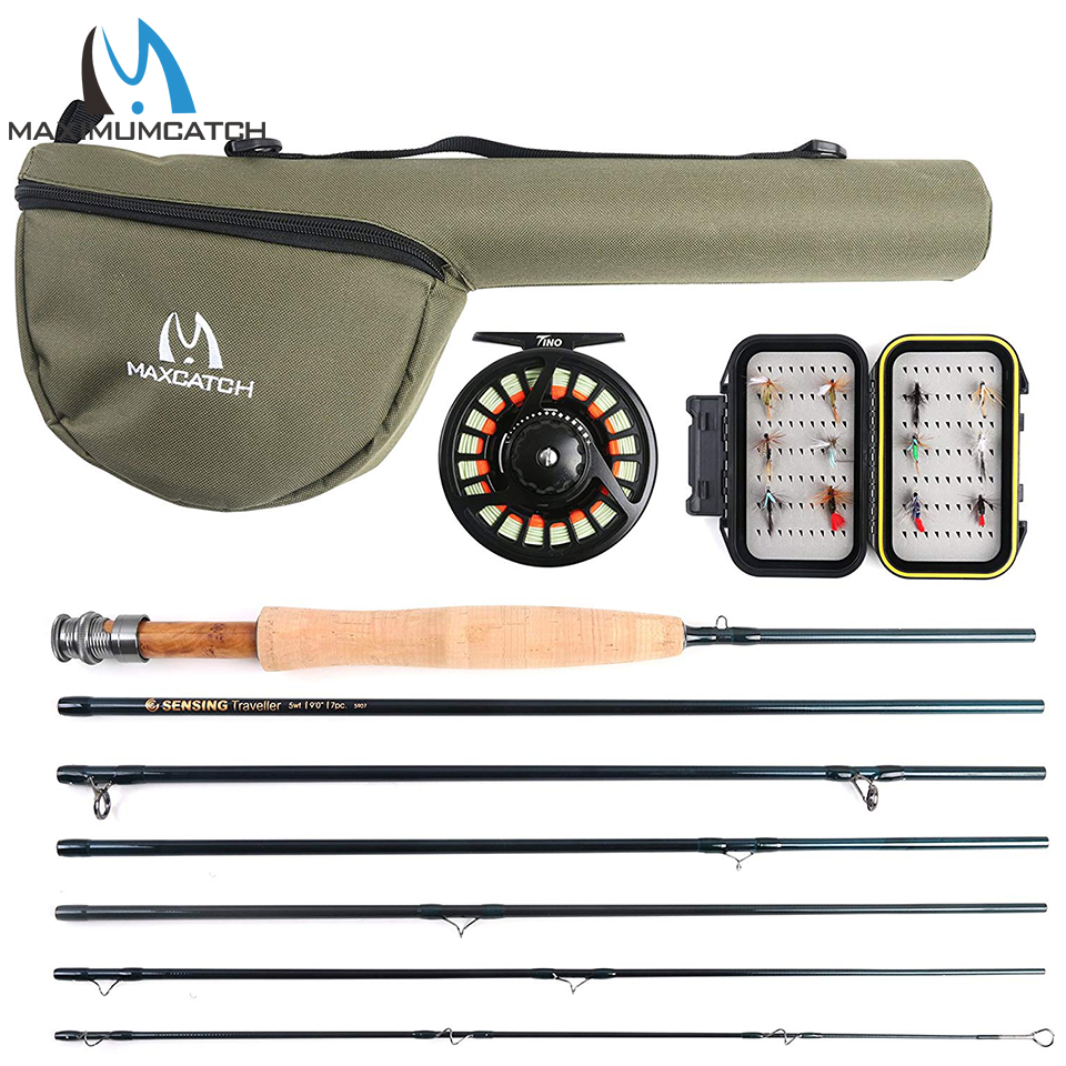 Maximumcatch Traveler Fly Fishing Rod Combo Graphite IM10/30T+36T Carbon Fiber Fly Rod with Fly Reel Kit 9FT 6/7/8WT 7Sec maximumcatch v traveler 9ft 5 6 7 8 9wt fly fishing rod graphite im10 carbon fiber 7pcs fast action travel fly rod
