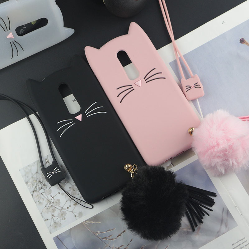 Cute 3D Cartoon Silicon Case for <font><b>OnePlus</b></font> 6 <font><b>A6000</b></font> A6003 Cases Japan Glitter Beard Cat Lovely Ears Kitty Phone Cover image