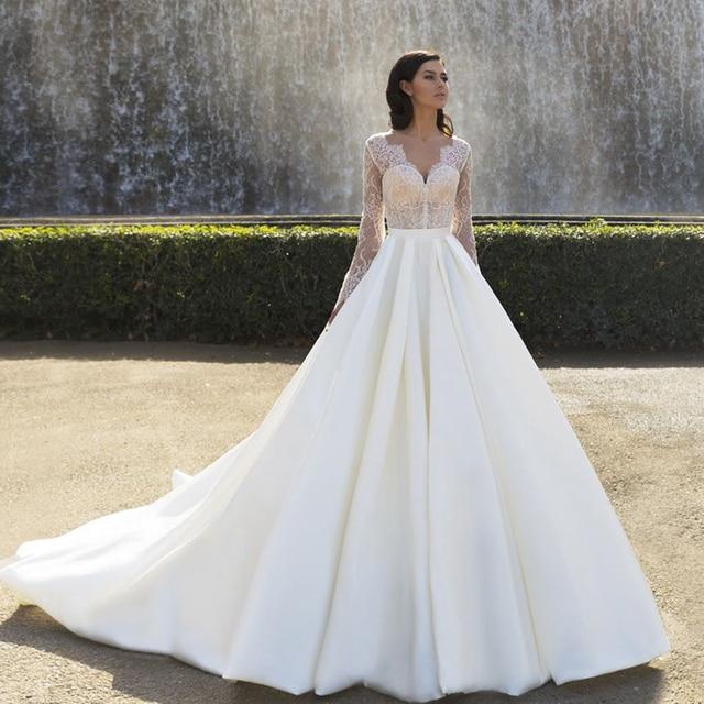 2017 Spring Long Sleeve Princess Wedding Dress Illusion Top Simple Vestido Branco Casamento China Alibaba