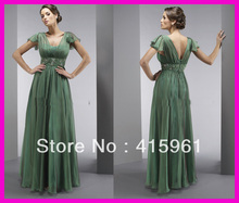 Green One Piece Cap Sleeve Beaded Chiffon Long Mother of the Bride Dresses M509