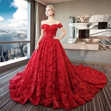 حجم كبير فستان الزفاف للنساء الحوامل قبالة ينبغي رداء ماري برينسيس التطريز الأحمر بوهو شيك فستان الزفاف TS870