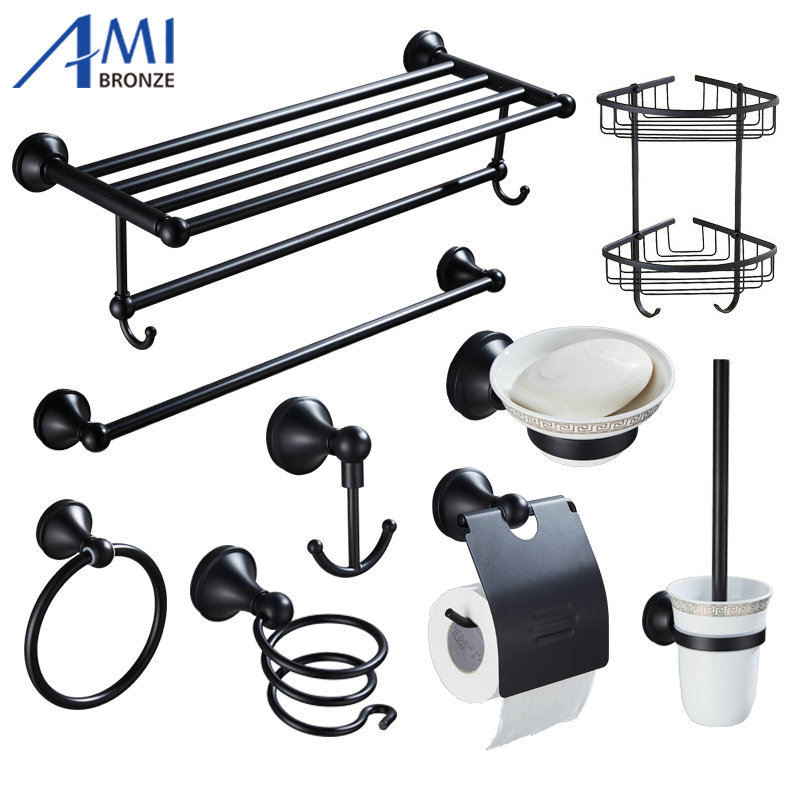 408B Series Black Paint Stainless Steel Bathroom Hardware Towel Rack Towel Bar Paper Holder Robe Hook Soap Dish Brush Holder towel ring black towel holder towel bar bathroom accessories set paper holder luxury toilet brush holder robe hook soap dish