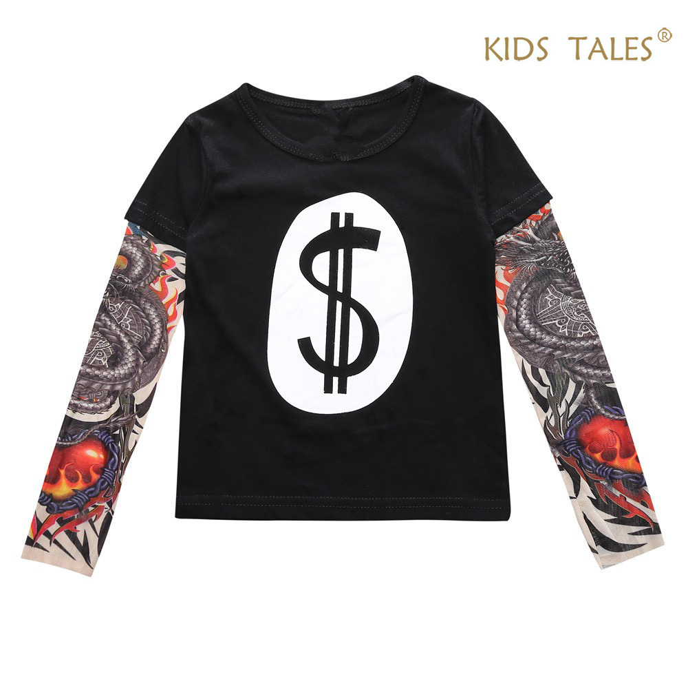 Fashion Boys Girls T Shirts Autumn Long Sleeve Hip-hop Style Tattoo Sleeves Children Tees Personality Patchwork Kids T-shirts