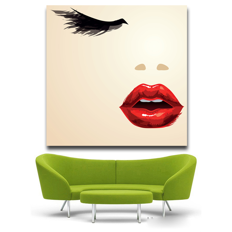 Protrait girl red Mouth and eyes Pop Art Oil Painting Face Portrait Print Wall Painting For Living room No Frame ...