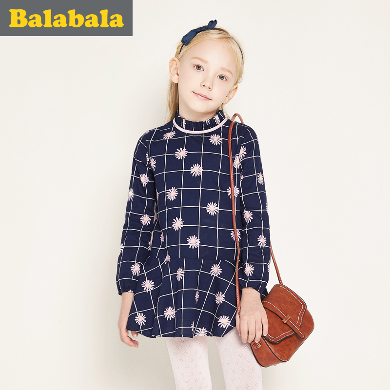 balabala Girls Dress 2018 100% cotton printed toddler children spring Clothes breathable soft Long Sleeve Dresses for girls 2018 new cotton printed rose dresses