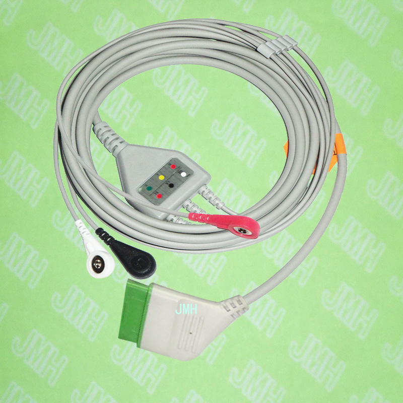 Compatible with 12pin Nihon Kohden ECG Machine the one-piece 3 lead cable and snap leadwire,IEC or AHA.