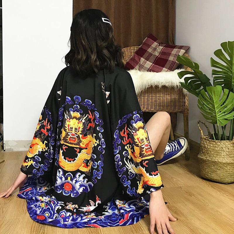 Japanese Kimono Cardigan Women Summer Dragon Print Blouse Coat 2019 New Fashion Causal Cardigans Top Clothing