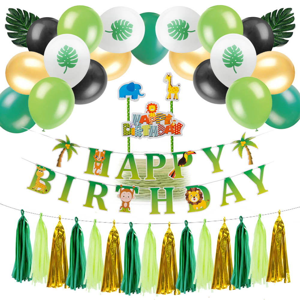 Jungle Animal Party Decoration Happy Birthday Banner Garland Cake Topper Palm Leaves Latex Balloons Tassel Garland