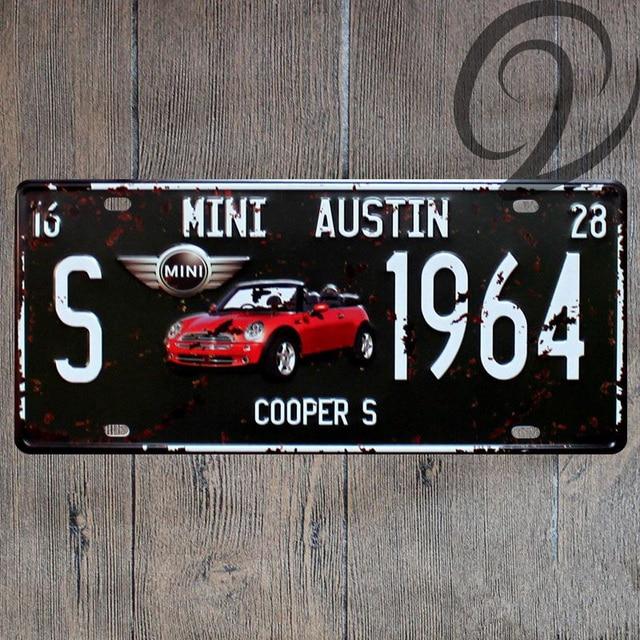 MINI AUSTIN S 1964 Tin Signs 15*30 cm Car License Plate Shabby Chic ...