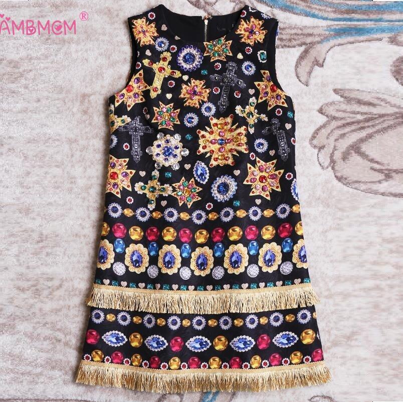 High Quality Women New Autumn Runway Designer Dress 2018 Vintage Print Manual Beads Sleeveless Black Dress Basic Dresses AMBMCM