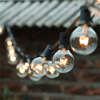 European Style G40 Christmas String Light With Black Cable 10Meters 20bulbs 4M Lead Wire For 220v