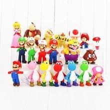 7-14 cm Jogo Super Mario Figura Modelo Brinquedo Fantasma Cogumelo KingKong Pêssego Princesa Koopa Bowser Luigi Yoshi bonito modelo brinquedos para o miúdo