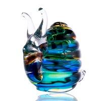 H&D Colorful Blown Glass Snail Ornaments Glass Handcraft Mini Animal Statuettes Desktop Decor Home Decoration Accessories
