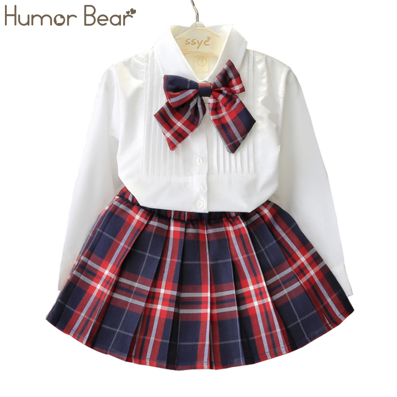 Humor Bear Autumn KidsTracksuit Baby Girl Clothes Girls Clothing Sets Long Sleeve+Grid Skirt +bowknot Casual 3PCS girls suits humor bear baby girl clothes set new sequins letter long sleeve t shirt stars skirt 2pcs girl clothing sets kids clothes