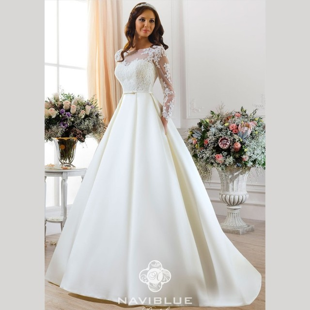 a9b1784e8c16 Elegant Satin Wedding Dress With Sleeve 2016 New White Lace Bridal Dresses  Sweep Train A Line Wedding Gowns Vestidos De Noiva