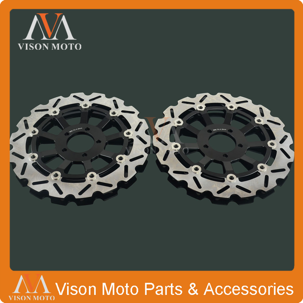 2PCS Front Floating Brake Disc Rotor For KAWASAK ZR1100 ZR 1100 ZEPHYR ZZR1100 ZZR 1100 ZRX1200 ZRX 1200 ZRX1200R ZRX1200S keoghs motorcycle brake disc brake rotor floating 260mm 82mm diameter cnc for yamaha scooter bws cygnus front disc replace