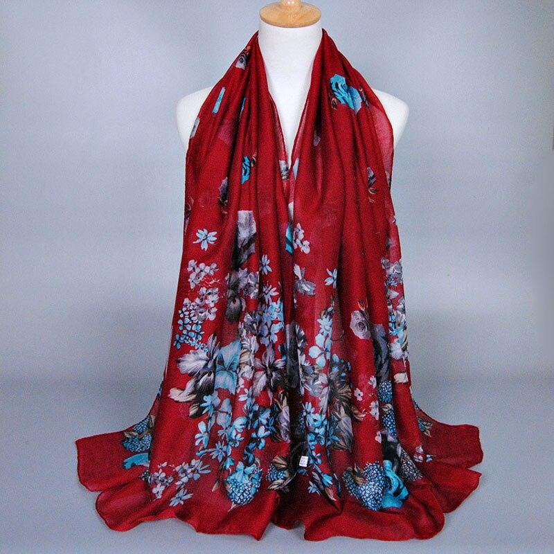 Women Voile cotton Silk   scarf   female flower Beach   scarf   fashion Lady girls   scarves     Wrap   shawl Lic