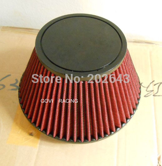 2688-1 Red Car Air  Filter With  Plain PU Top And 152mm Neck Universal For Air Intake Induction Kits Carbon Filter Knopel Astra