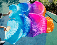 Hits 2015 High Selling Women Quality Silk Belly Dance Fan Dance 100 Real Silk Veils Rainbow