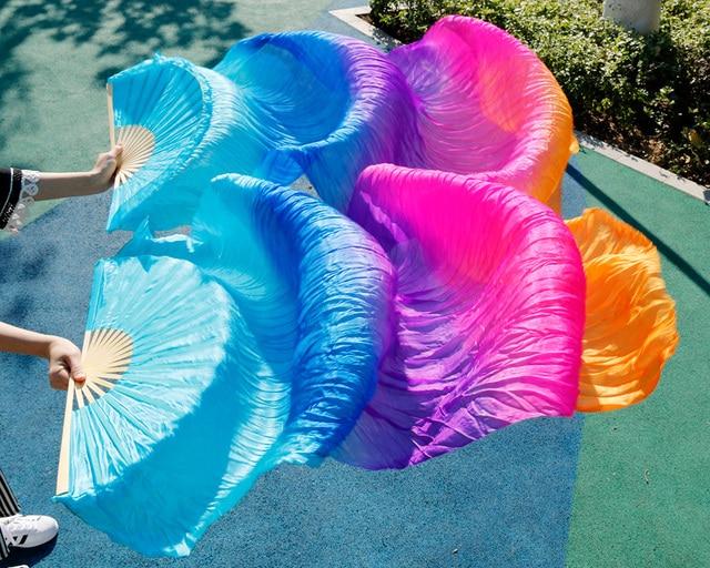 Хит 2018, высококачественные женские шелковые вуали для танца живота, 100% натуральный шелк, радужная цветная вуаль, одна пара (2 шт.)