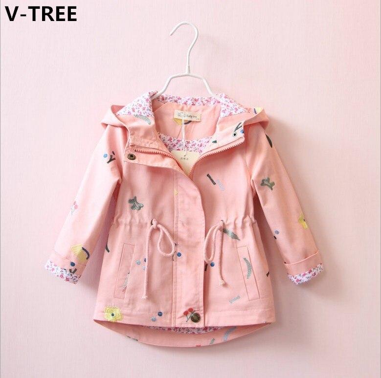 V-Tree Обувь для девочек Повседневное ветровки Весна для маленьких девочек хлопковые пиджаки дети цветок Вышивка Пальто для будущих мам малышей Верхняя одежда более Пальто для будущих мам