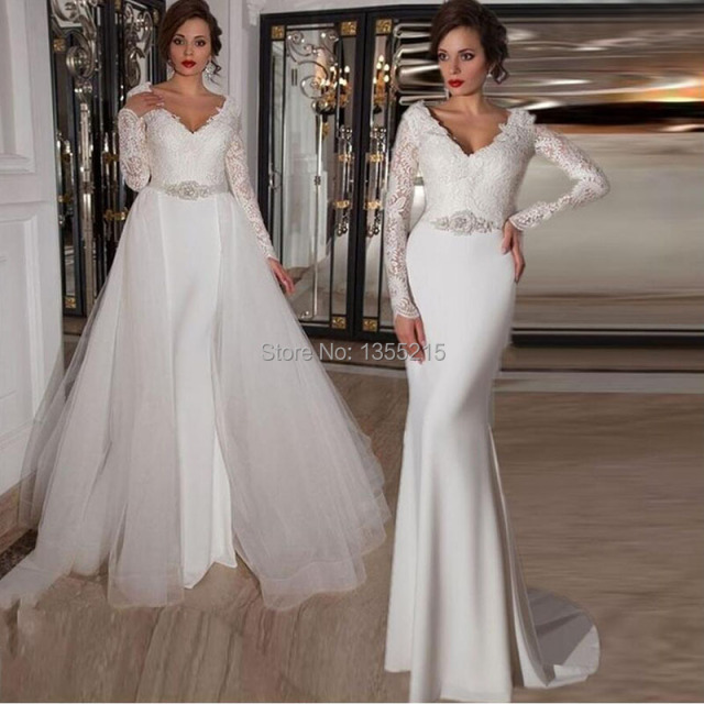 Elegant Long Sleeve Mermaid White Wedding Dresses 2016 Beaded Sashes Bridal Gowns With Removable Train Vestido