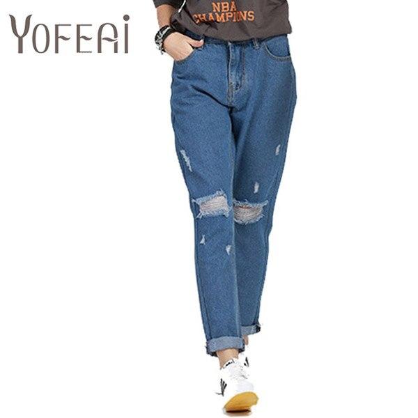 ФОТО YOFEAI  Women Jeans Fashion Big Size Casual Loose Denim Pants Bottoms Women Hole Harem Trouser Casual Female Plus Size 4XL 5XL