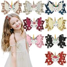 8pcs/lot 3 Inch Hair Bows With Clip Hot Sale Glitter Unicorn Clips For Girls