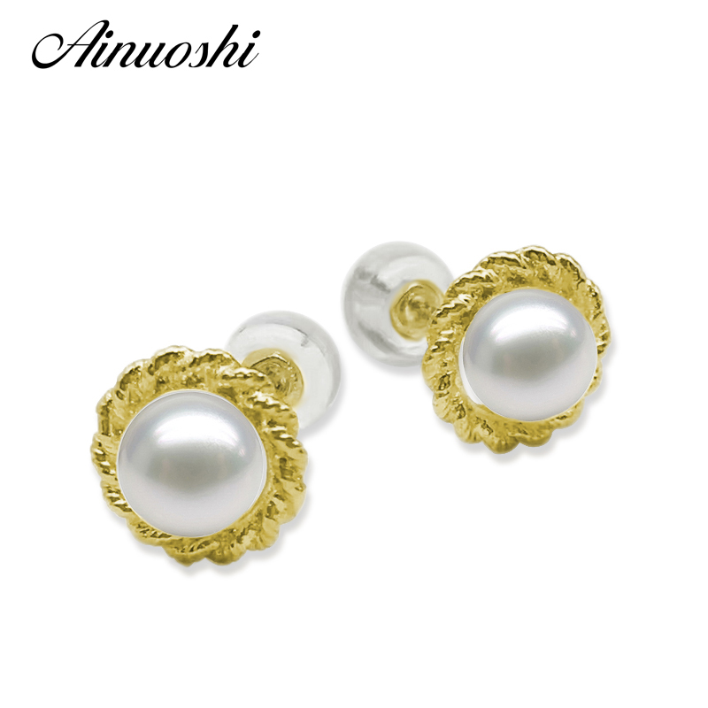 AINUOSHI Fashion 18K Yellow Gold Twisted Women Drop Earrings Natural Freshwater White Pearl 5.5-6mm Round Pearl Drop Earrings triangle round drop earrings
