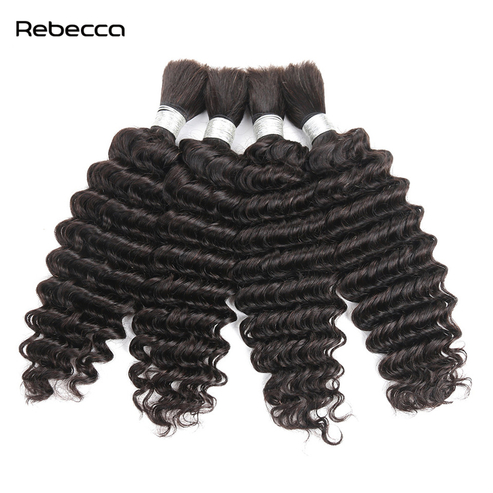 Rebecca Malaysian Remy Bulk Hair Deep Wave 100 Human Hair Bundle For Braiding 10 30 Inch