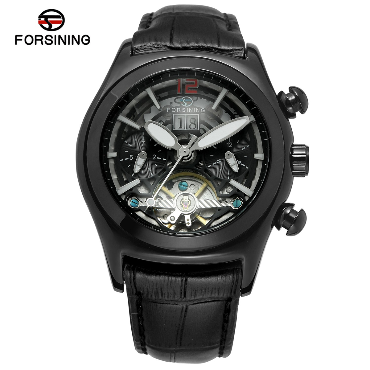 FORSINING Gold Skeleton Tourbillon Mechanical Watch Men Automatic Classic Black Leather Mechanical Wrist Watches Reloj Hombre forsining men s watch vogue skeleton mechanical leather analog classic wristwatch color silver fsg8090m3