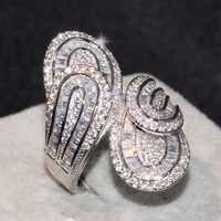 Najlepiej sprzedający się Drop Shipping ręcznie robione luksusowe biżuteria 925 Sterling Silver księżniczka Cut 5A CZ Party kobiet ślub liść szeroki pierścień prezent