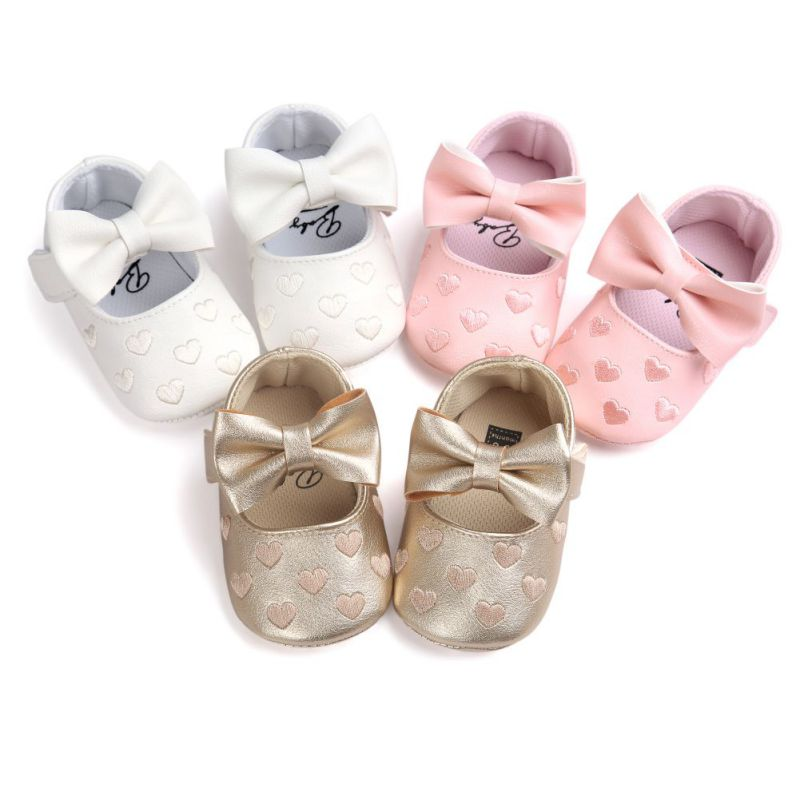 New Newborn Baby Girls Love Big Bow Embroidery Soft Bottom Non-slip First Walke Prewalker Boots Bottom PU Leather Shoes