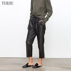 Женские брюки из 100% натуральной овечьей кожи, 2019 модные укороченные джинсы из натуральной овечьей кожи с эластичным поясом на талии