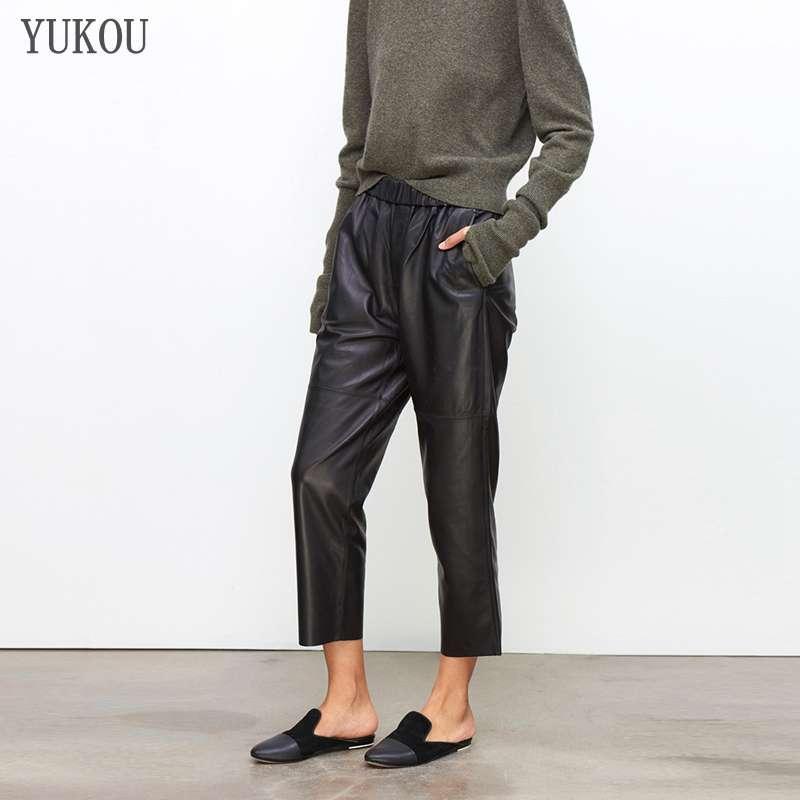 Calças femininas 100% genuíno couro de ovelha 2019 moda real genuíno couro de ovelha colheita jeans cintura elástica