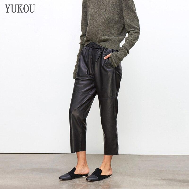 Femmes pantalons 100% véritable cuir de mouton 2019 mode réel véritable cuir de mouton culture jean ceinture élastique taille pantalon