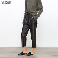 Women Pants 100% Genuine Sheep Leather 2019 Fashion Real Genuine Sheep Leather Crop Jeans Elastic Belt Waist Trousers