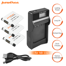 3Pcs 1100mAh akku NB-11L NB11L NB 11L Camera Batteries&LCD SUB Charger for Canon IXUS 125 240HS A3400 A4000 A2300 A2400 z1 L15