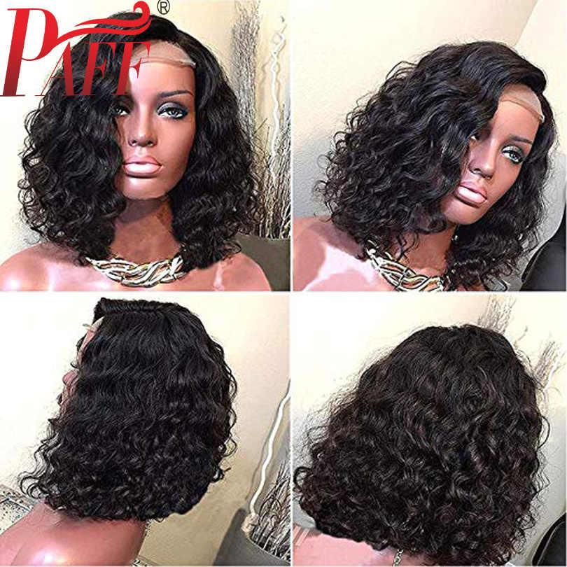 PAFF короткие кудрявые Синтетические волосы на кружеве парики из натуральных волос на кружевной основе 130 150 180 Плотность средняя часть боб бразильские Волосы remy 13*3,5 парик с детскими волосами
