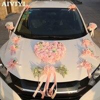 Artificial Flowers Pink simulation wedding car decoration silk rose flower car set heart shaped wedding decoration Wreath DIY