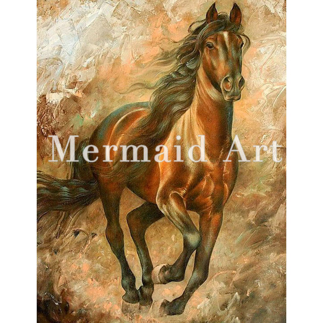 HandPainted Art Oil Paintings Animal Abstract Art Home Decor Running Blown  Horse Oil Painting On Canvas