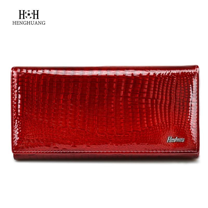 HH Brand Alligator Kvinnor Plånböcker Äkta Läder Dam Clutch Coin Purses Hasp Luxury Patent Crocodile Kvinnlig Lång Plånbok