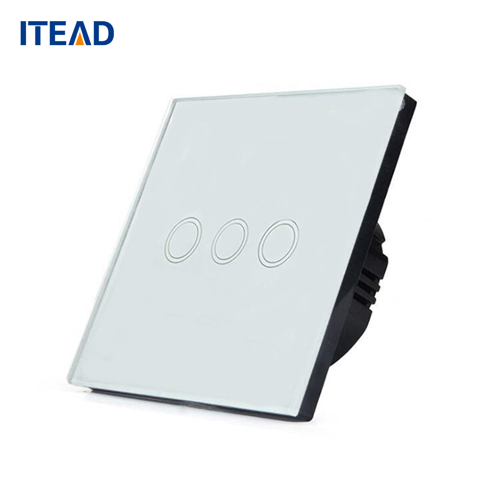 Smart Wall Touch Switch Light Panel EU Touch On/Off Sensor 3 Gang 1 Way Waterproof Glass Panels 240V Controller 1 way 1 gang crystal glass panel smart touch light wall switch remote controller white black gold ac110v 240v