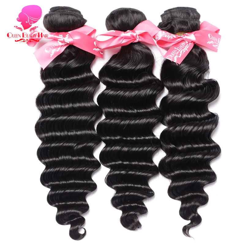 Tissage en lot brésilien Remy naturel Loose Deep Wave-QUEEN BEAUTY | Couleur naturelle, 12 à 30 pouces, trame de cheveux, Extension capillaire, lot de 1/3/4