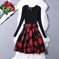 Primavera e no outono mulheres bodycon dress impresso sexy vintage mangas compridas a linha de vestidos de festa vestido de festa roupas femininas