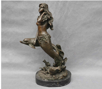 Copper Brass CHINESE crafts decoration Asian Bronze Sexy Mermaid Woman Sit Dolphin Art Sculpture Statue cigarette lighter