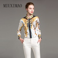 2018 Newest Spring Autumn Best Quality Vintage Blouse Women Full Sleeve Turn Down Collar Pattern Print